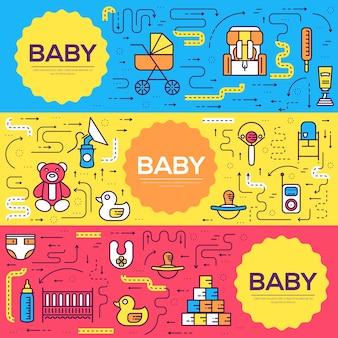 Breastfeeding week cards thin line set