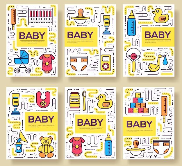 모유 수유 카드 얇은 라인 세트