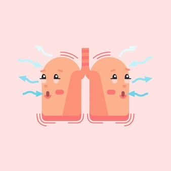 Breathing lungs character, respiratory system