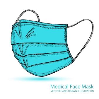 呼吸医療用呼吸マスク。病院または公害はフェイスマスキングを保護します。ベクターの手描きイラスト。