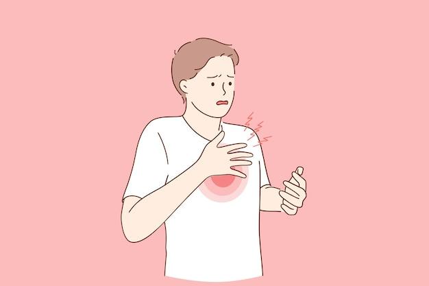 호흡 문제 및 코로나 바이러스 개념