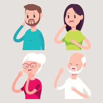 숨이 막히는 사람들이 배경에 고립 된 만화 그림을 벡터.