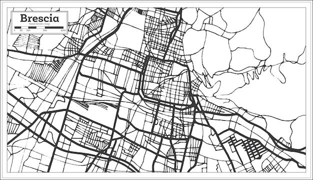 レトロなスタイルのブレシアイタリア都市地図。白地図。ベクトルイラスト。