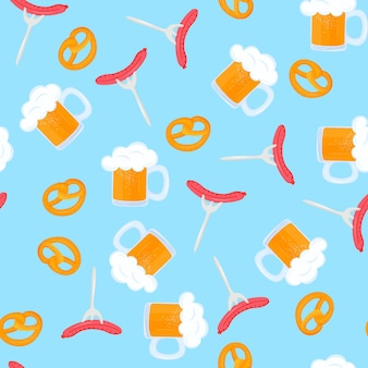 Bretzel and mug of beer with foam. sausage grill on a fork. traditional german pastries. national food to oktoberfest. seamless pattern.