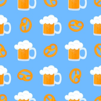 Bretzel and mug of beer with foam. traditional german pastries. national food to oktoberfest. seamless pattern.