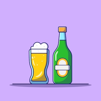 ラベル付きのボトルとガラスの醸造ビール飲料