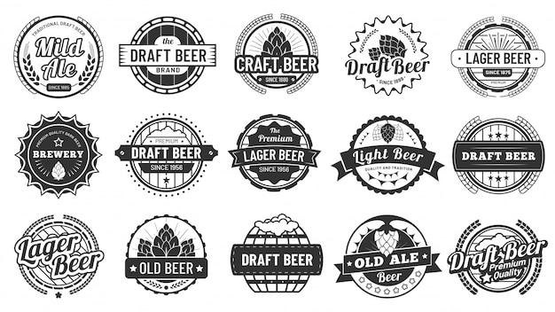 醸造所ビールバッジ。クラフトビールエンブレム、ホップラガー、パブホップバッジ分離ベクトルイラストセット