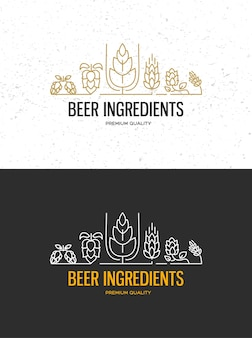 Brewery beer house labels with logos of craft beer, emblems for beer house, bar, pub, brewing company, brewery, taverns on the black