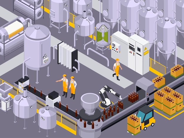 Изометрическая композиция производства пива пивоваренного завода с видом на заводские помещения с кивами и трубками с иллюстрацией рабочих