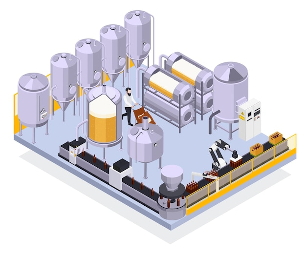 Brewery beer production isometric illustration with view of industrual facilities automated line with bottles and worker illustration
