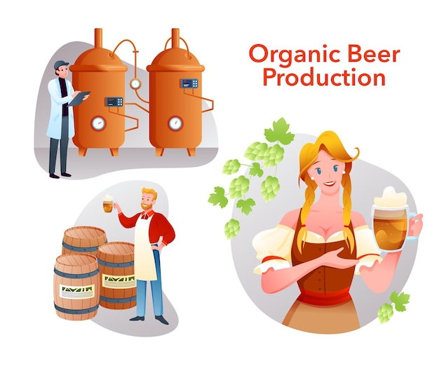 Brewery collection with brewer people work in organic craft product factory