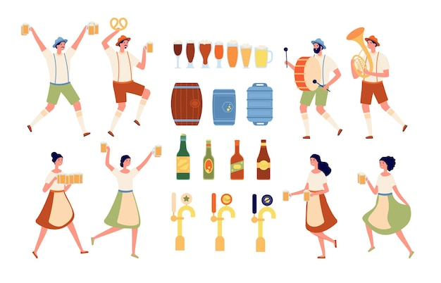 Brewery elements. beverages bar, beer pub equipment. isolated craft alcohol products and bottling. oktoberfest people vector illustration. alcohol product craft, production brewing lager