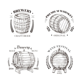 Brewery emblem. barrel of beer and wine, whiskey and brandy sketch  vintage labels with wooden cask and typographic