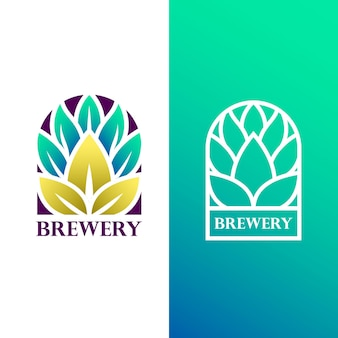 Шаблон дизайна логотипа градиента пивоварни