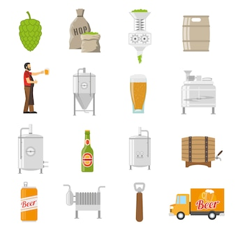 Brewery icons set
