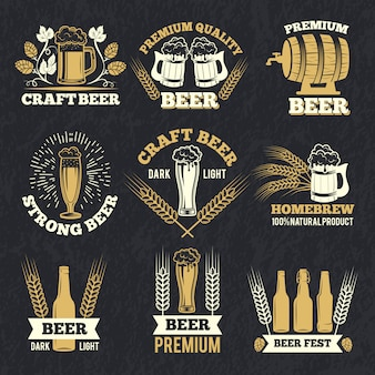 Brewery labels isolate on dark background