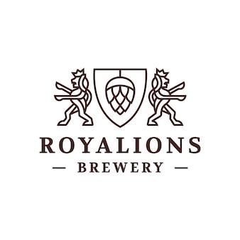 ビール醸造所のライオンの紋章ロゴデザイン