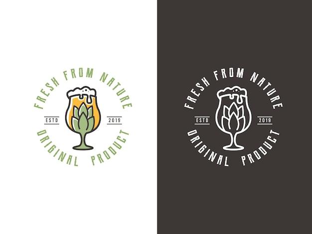 Пивоварня логотип дизайн концепции стекла иллюстрации