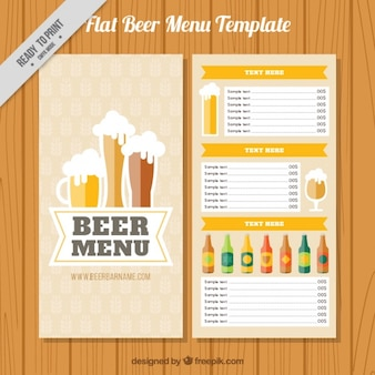 Brewery menu with different kinds of beers