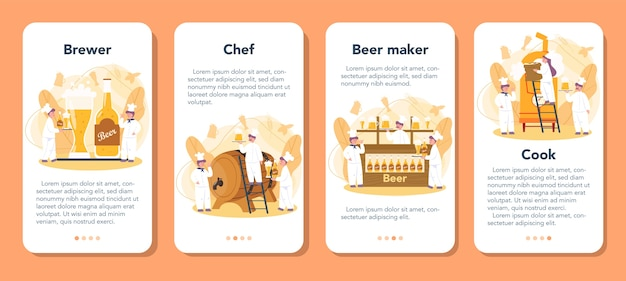 Brewery mobile application banner set