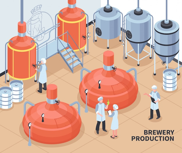 Brewery production isometric illustration