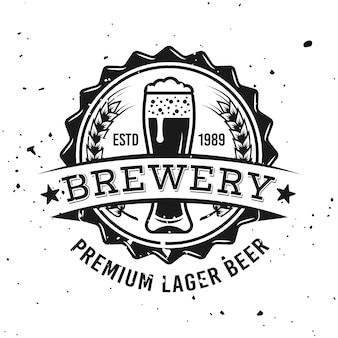 Brewery vector round emblem, label, badge, stamp or logo in monochrome vintage style isolated on background with removable grunge textures
