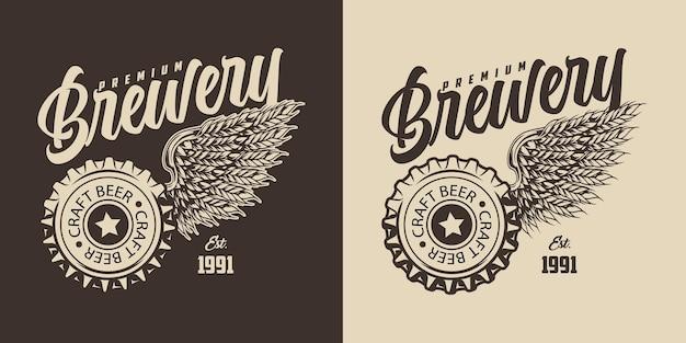 ビール瓶のキャップと鷲の翼の形をした大麦の耳の碑文が付いた醸造所のヴィンテージモノクロプリント