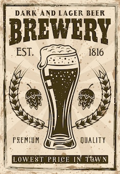 Brewery vintage poster, beer glass with foam and bubbles illustration