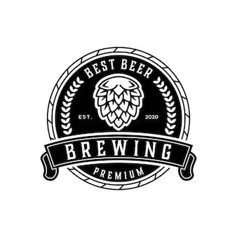 Brewing best beer vintage logo design template