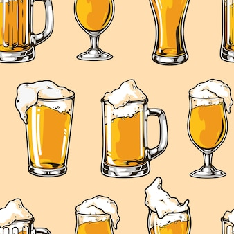 Brewing colorful seamless pattern with glasses mugs and cups full of beer in vintage style