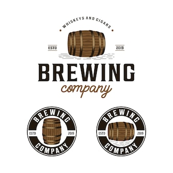 Brewing company with barrel vintage logo