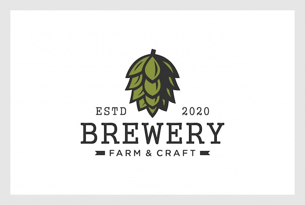 Пивоваренный дизайн логотипа в винтажном стиле