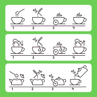 お茶の淹れ方。バッグで緑または黒の温かい飲み物を準備する