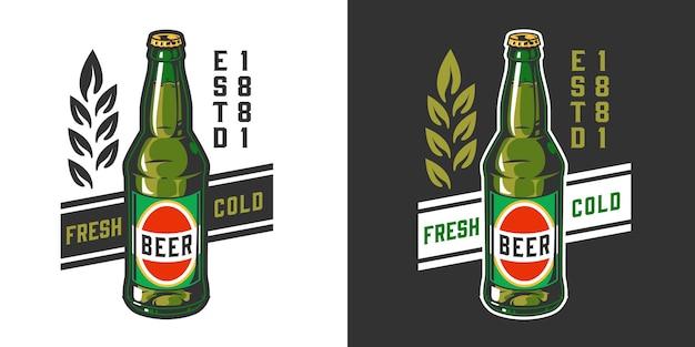 Пивоваренная винтажная красочная этикетка с зеленой бутылкой пива