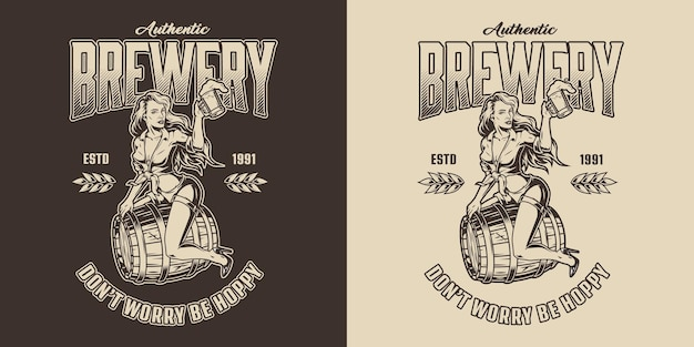 Brewing vintage label with pretty lady sitting on wooden barrel and holding cup of beer in monochrome style