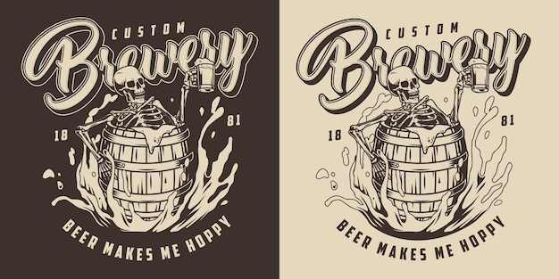 Brewing vintage monochrome label with drunk skeleton holding cup of foamy alcoholic drink and sitting in wooden barrel in beer splashes