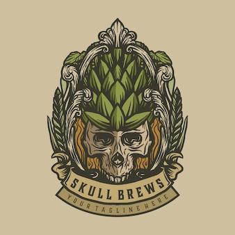Brews skull vintage label