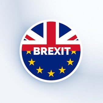 Brexit badge with uk and eu flag