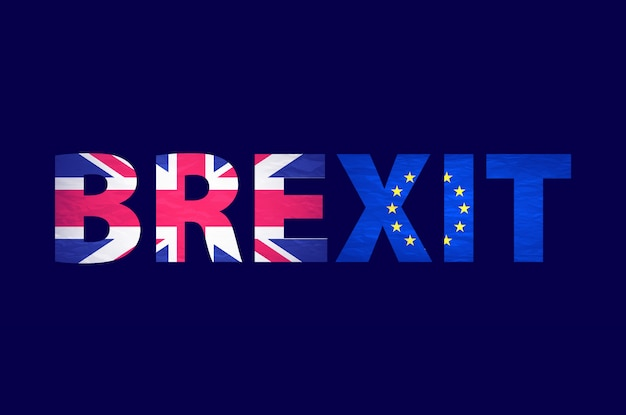 分離されたbrexitテキスト。イギリスはヨーロッパの相対的なイメージを終了します。 brexitは政治プロセスと名付けました。国民投票のテーマ