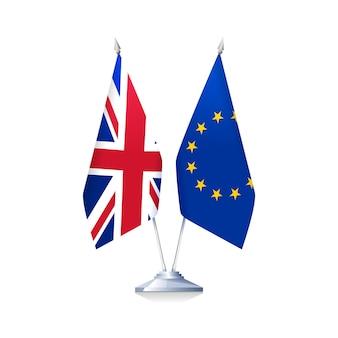Brexitのコンセプト。英国と欧州連合の旗は、白い背景で隔離。ベクトルイラスト