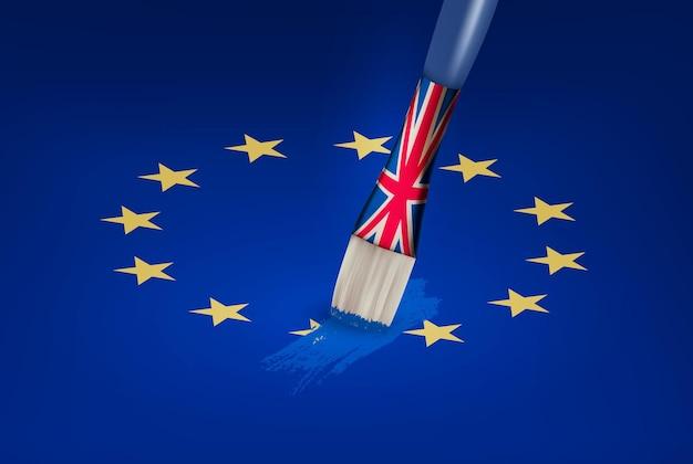 Концепция brexit. великобритания рисует кистью над звездой ес. вектор.
