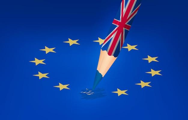 Концепция brexit. великобритания карандашный рисунок над звездой ес. вектор.