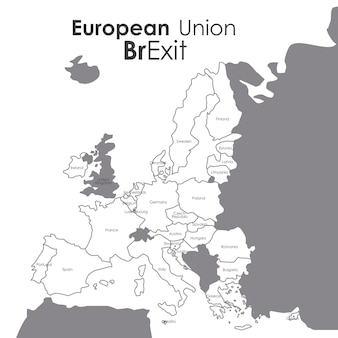 Brexit of the eruropean union icon. europe nation and government theme. isolated and silhouette desi