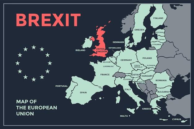 Brexit。国名が記載されたeuのポスターマップ。ビジネス、経済、政治、eu離脱、地理のテーマで、ウェブとポリグラフィーのeuの地図を印刷します。