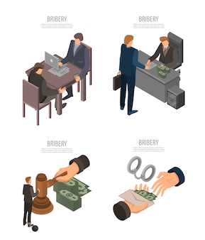 Bribery banner set. isometric set of bribery vector banner for web design