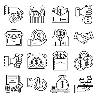 Bribery icon set. outline set of bribery vector icons