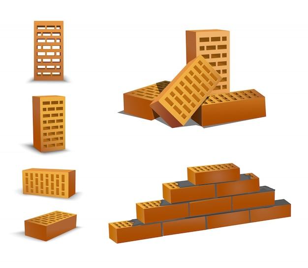 Кирпич различный ракурс, верхний и лицевой. оранжевые кирпичи на белом фоне. керамические блоки из новой разработки в строительном секторе. кирпичная стена