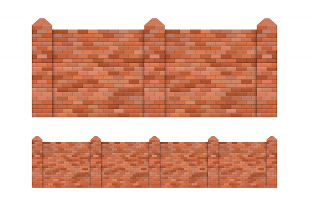 Brick fence  illustration isolated on white background
