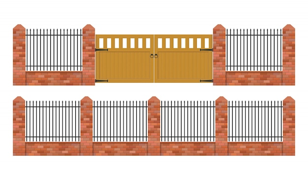 白い背景に分離された木製のゲートのイラストがレンガの塀