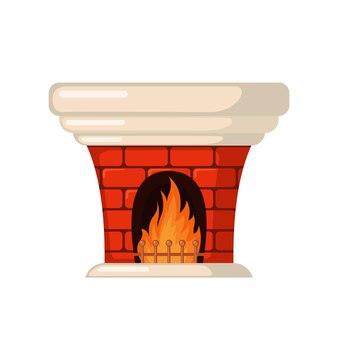 白い背景で隔離のフラットスタイルのレンガの暖炉のアイコン。ベクトルイラスト。